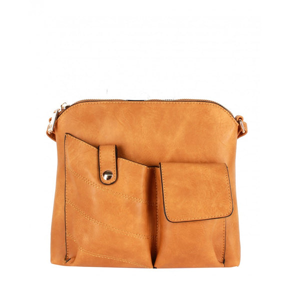 Two pocket crossbody bag - mustard