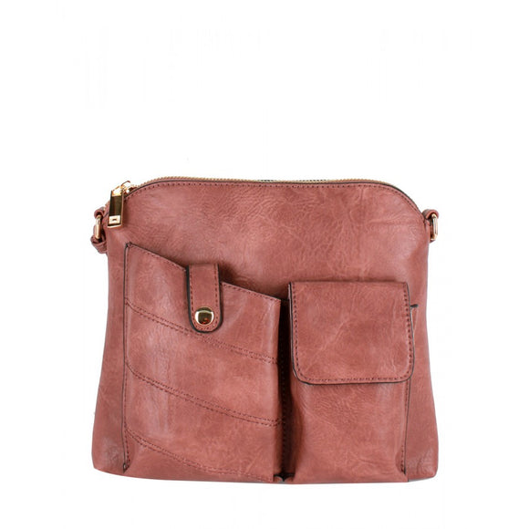 Two pocket crossbody bag - mauve