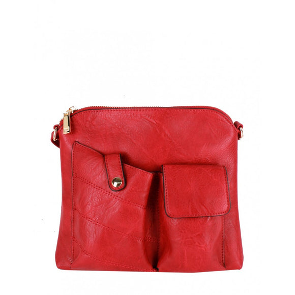 Two pocket crossbody bag - red