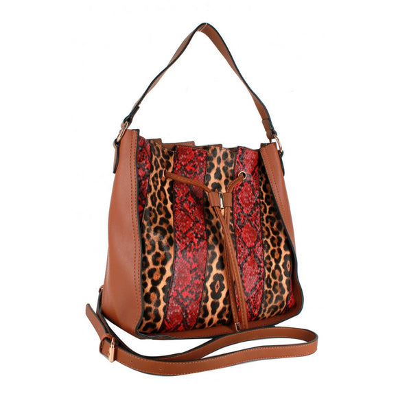 Leopard & Phyton snake skin bag - brown