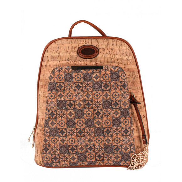 Cork flower pattern backpack - No.13