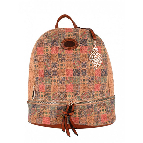 Cork backpack flower pattern  - No.12
