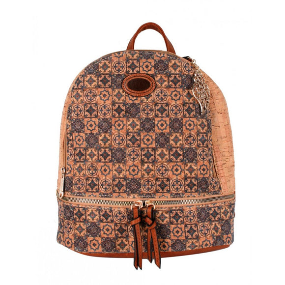 Cork backpack flower pattern  - No.13