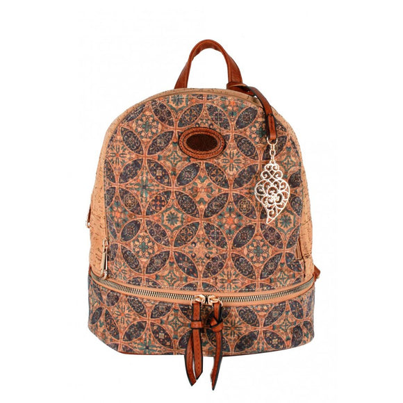 Cork backpack flower pattern  - No.8