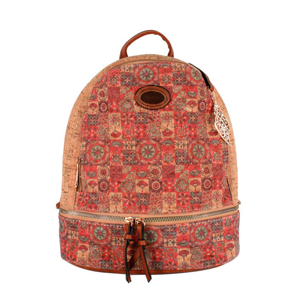 Cork backpack flower pattern  - No.14