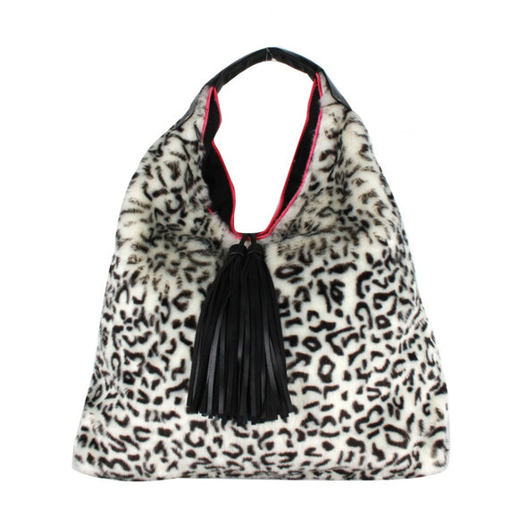 Leopard fur & Tassel shoulder bag - black