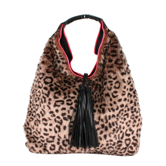 Leopard fur & Tassel shoulder bag - coffee