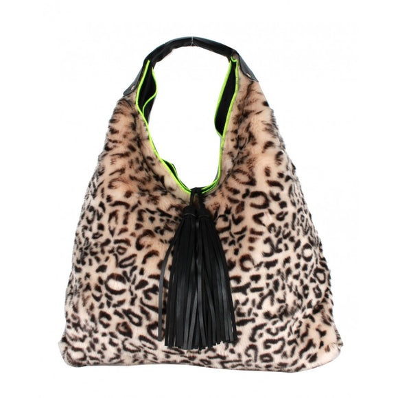 Leopard fur & Tassel shoulder bag - taupe