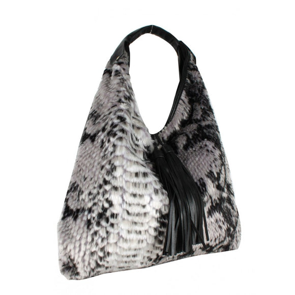 Snake pattern fur shoulder bag - black