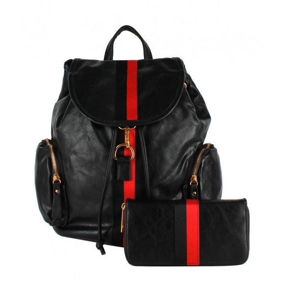 Stripe fashion backpack - black
