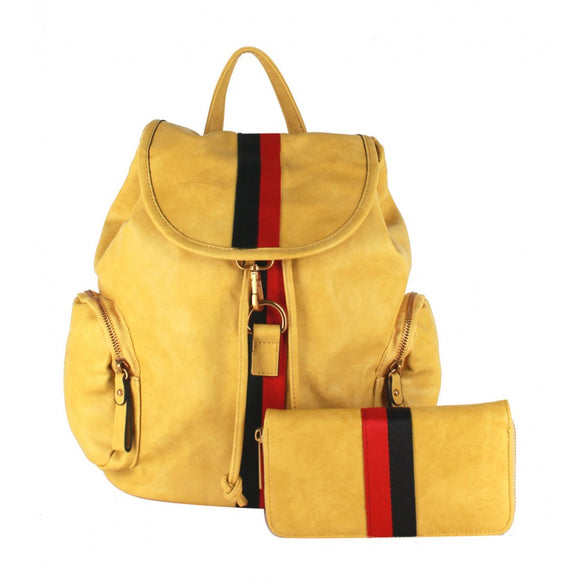 Stripe fashion backpack - lgn