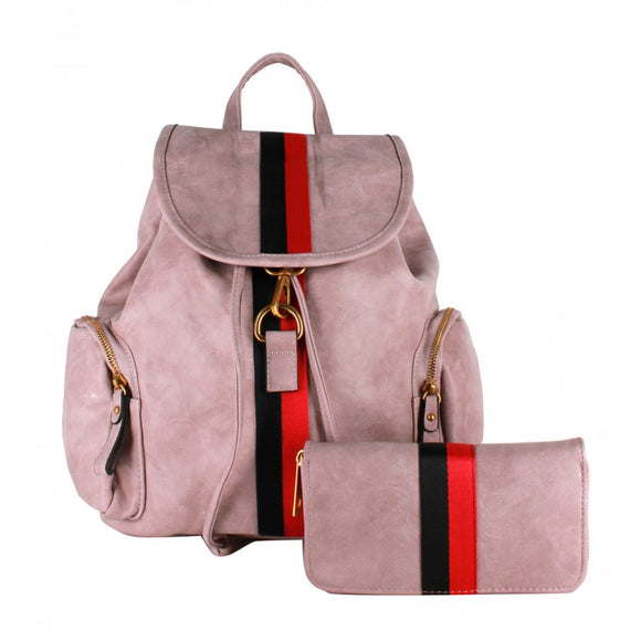 Stripe fashion backpack - mauve