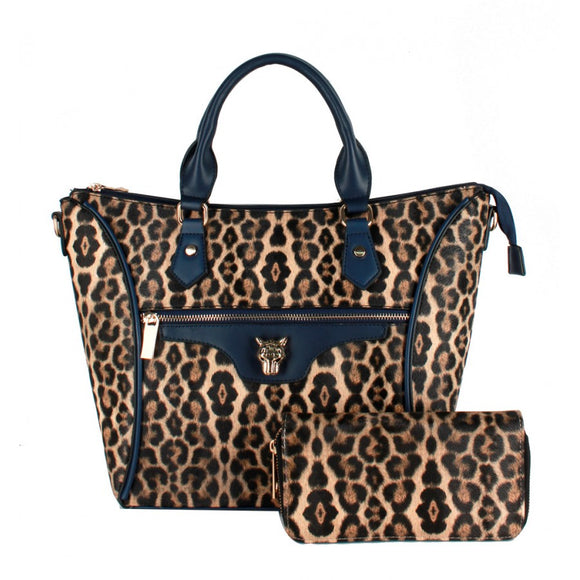 Leopard 2 in 1 tote - navy