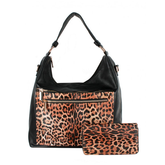 Leopard zipper shoulder bag - black
