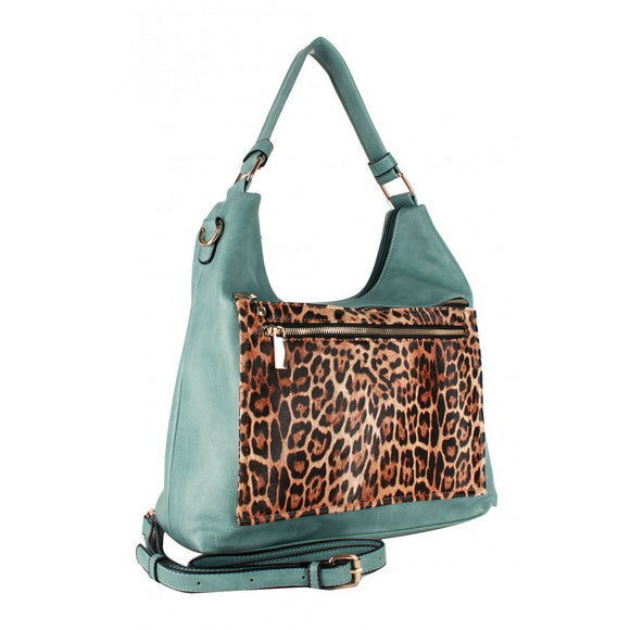 Leopard zipper shoulder bag - blush