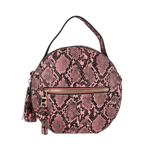 Snake Python pattern shoulder bag - mauve