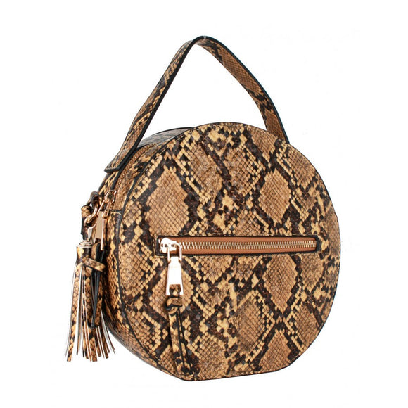 Snake Python pattern shoulder bag - brown
