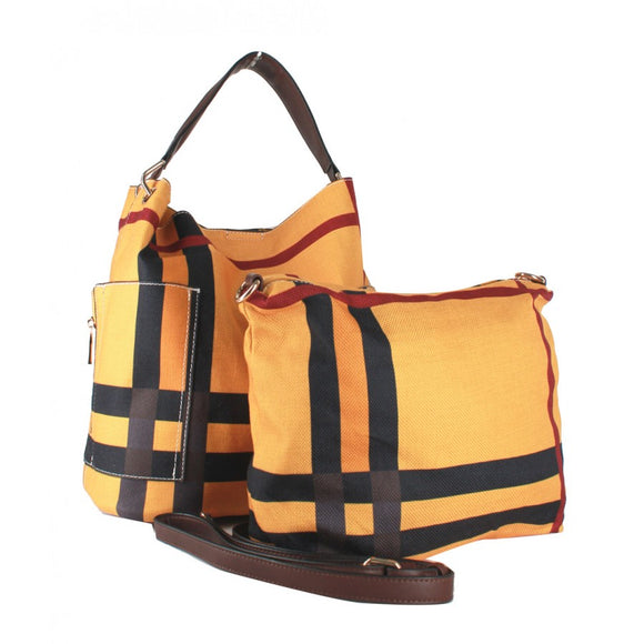 Stripe fashion bag - mustard
