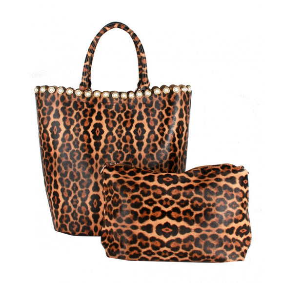 Pearl & Leopard tote set - brown