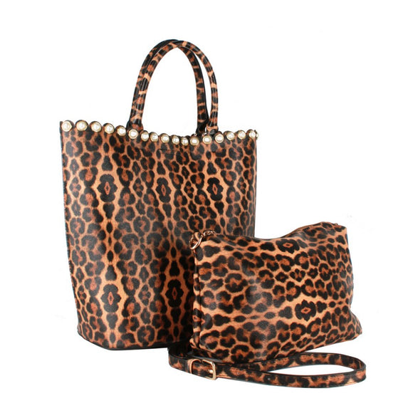 Pearl & Leopard tote set - coffee