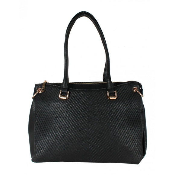 Top zipper tote - black
