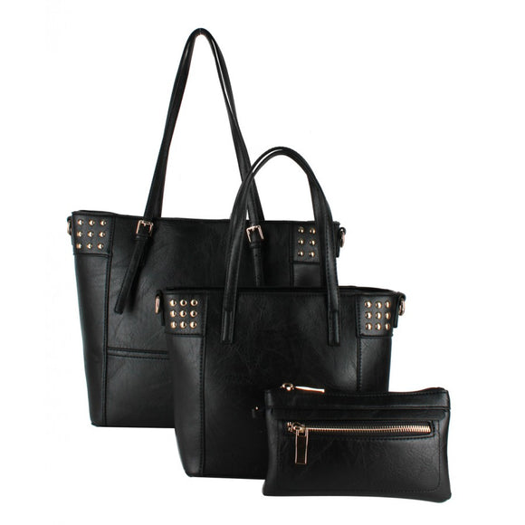 Studed fashion tote - black