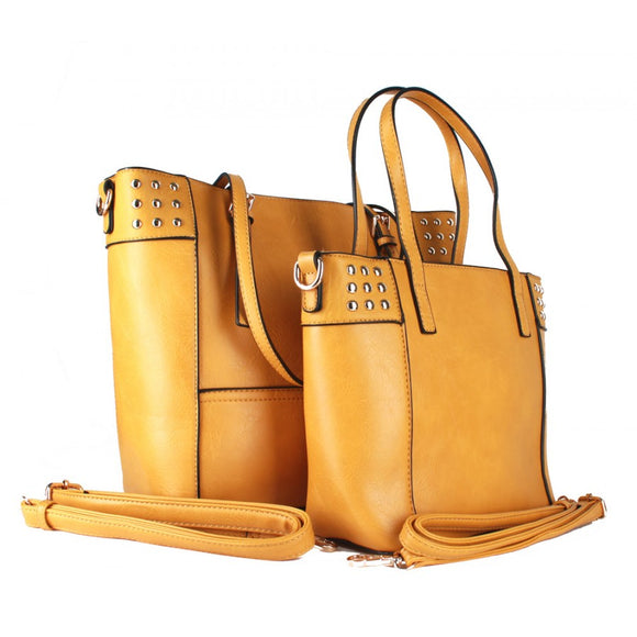 Studed fashion tote - light stone