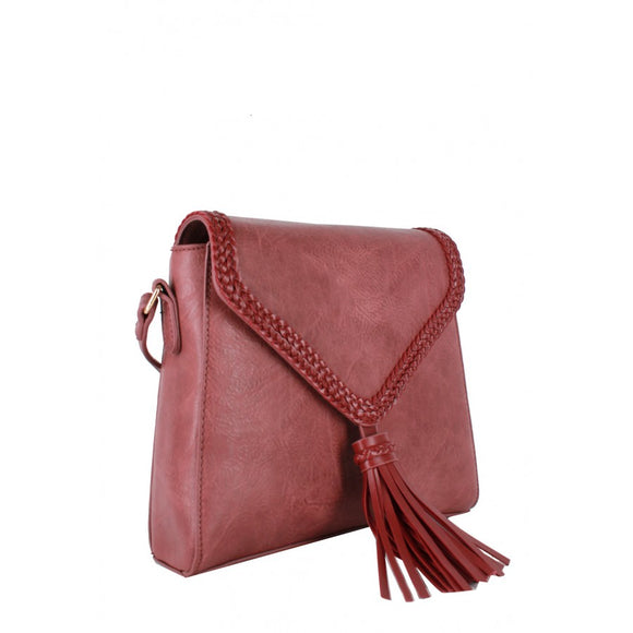 Tassel whipstitch crossbody bag - tan