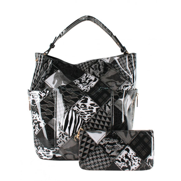 Patchwork design hobo bag - black