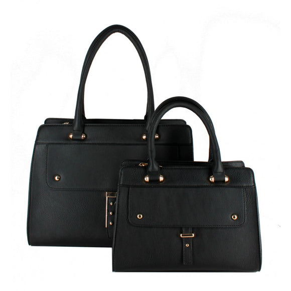 Studded 2 in 1 satchel - black