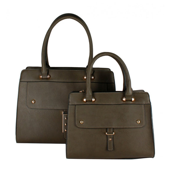 Studded  2 in 1 satchel - olive