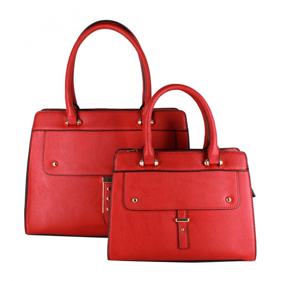 Studded 2 in 1 satchel - red
