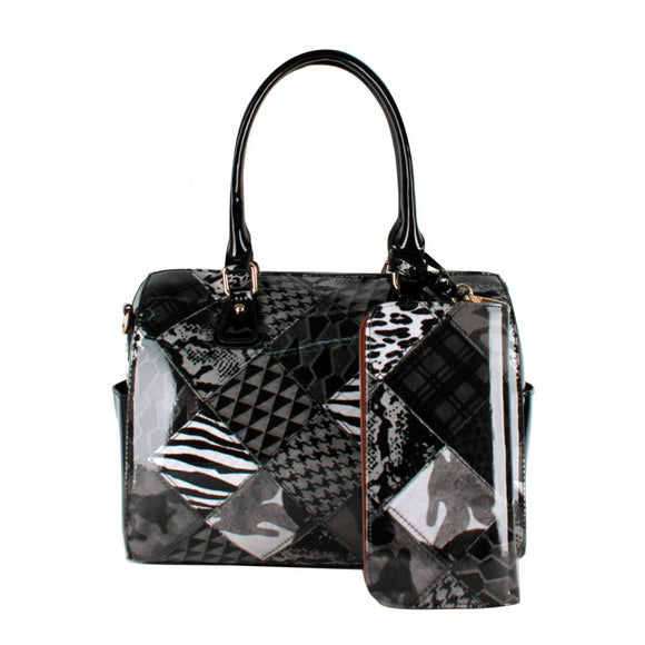 Patchwork Boston bag - black