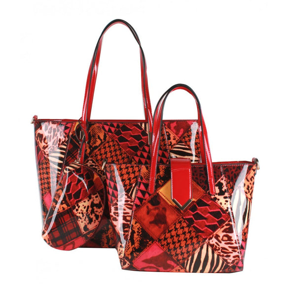 Patchwork 2 in 1 tote - burgundy