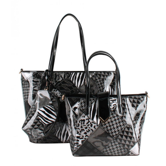 Patchwork 2 in 1 tote - black