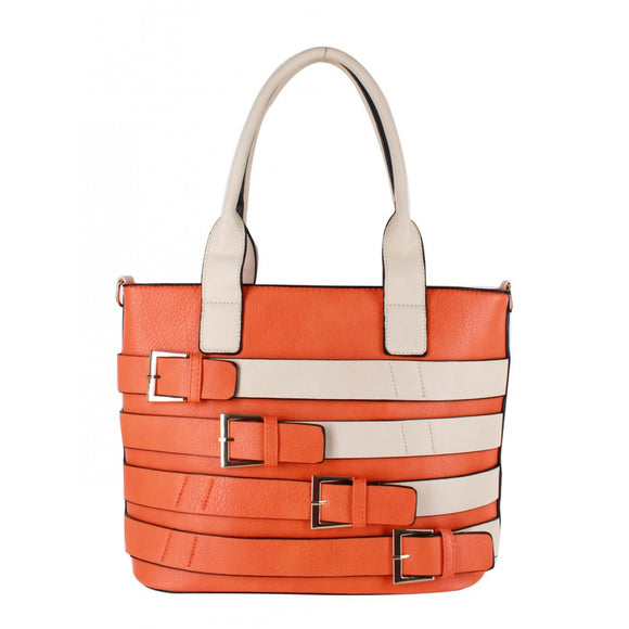 Multi belted tote - orange
