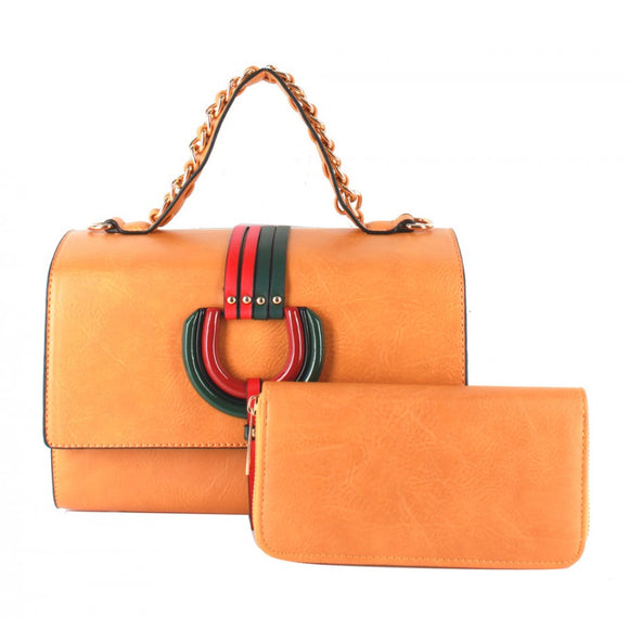 Color stripe satchel - mustard