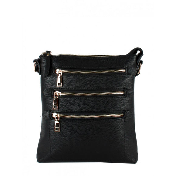 Triple zip crossbody bag - black