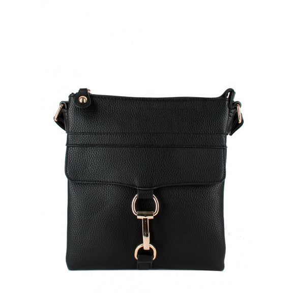 Linked flap crossbody bag - black