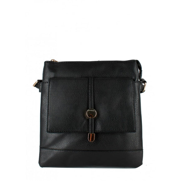 Flap pocket crossbody bag - black