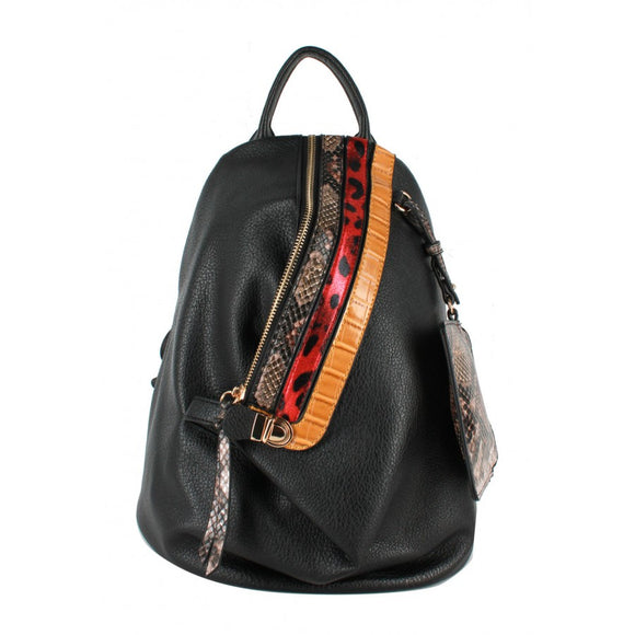 Snake pattern stripe backpack - black