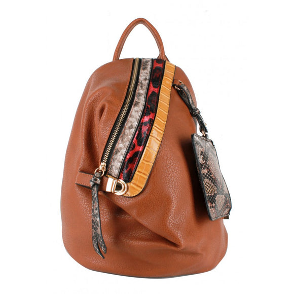 Snake pattern stripe backpack - brown