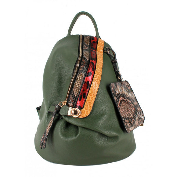 Snake pattern stripe backpack - olive