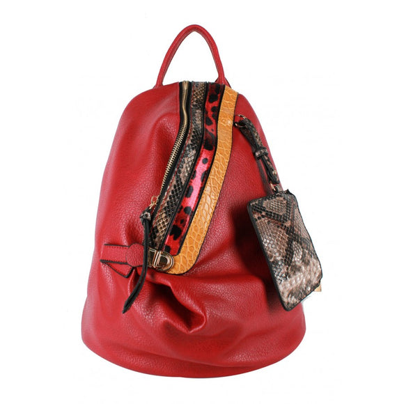 Snake pattern stripe backpack - red