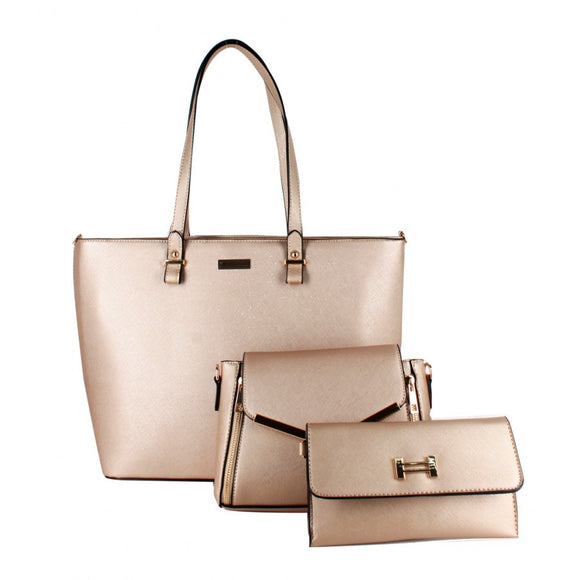 3 in 1 gold hardware tote set - gold