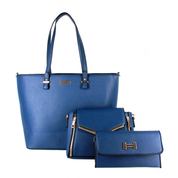 3 in 1 gold hardware tote set - navy