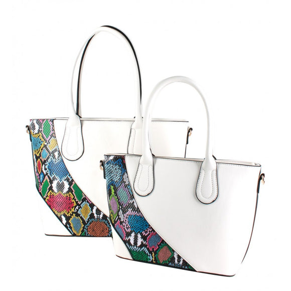 Snake stripe tote set - white