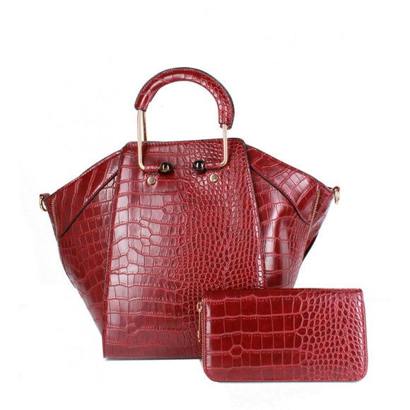 Crocodile pattern top handle bag - wine