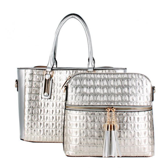 Crocodile pattern 2 in 1 bag - silver