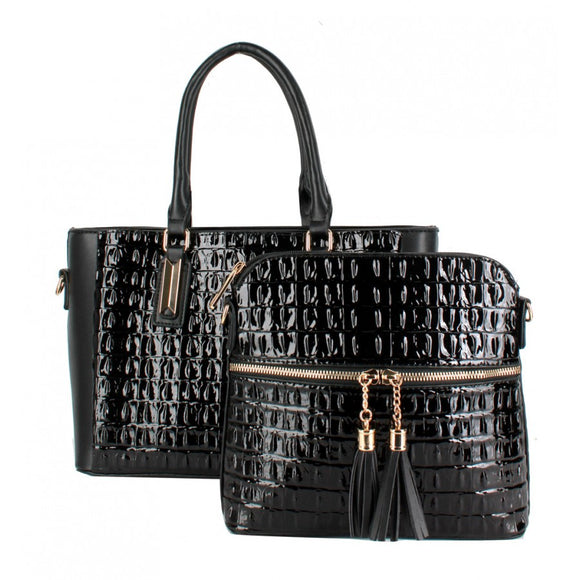 Crocodile pattern 2 in 1 bag - black